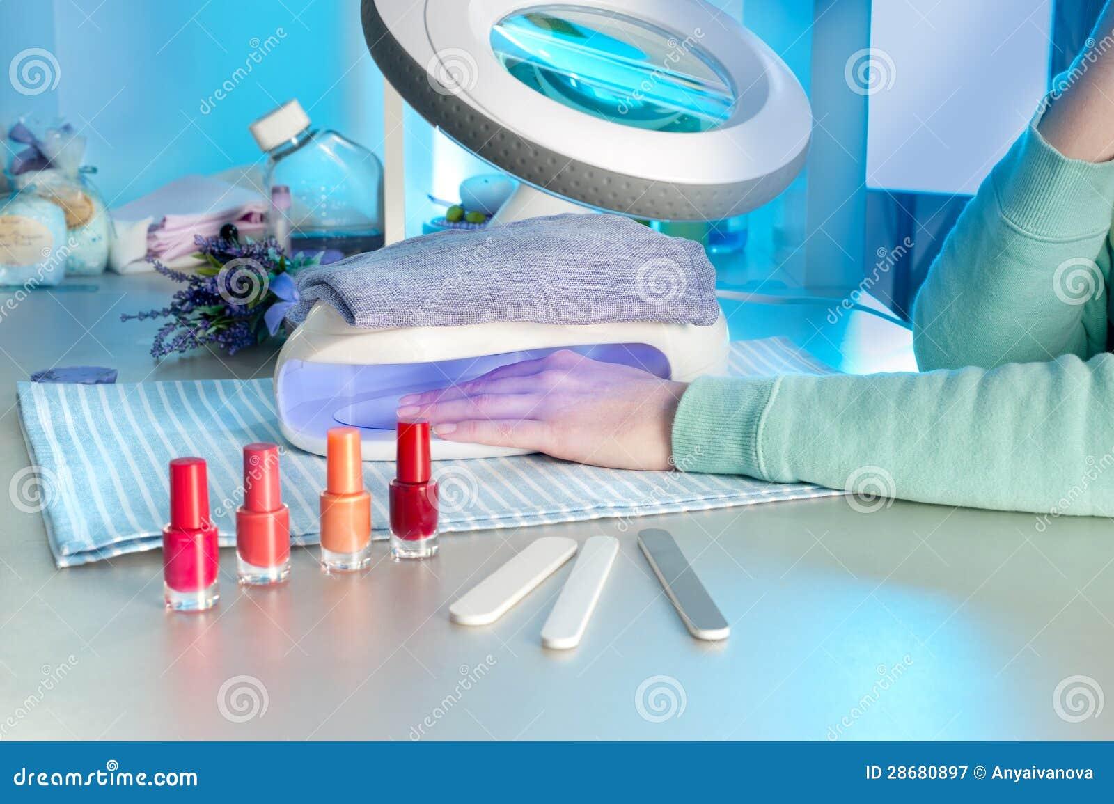 Nail Salon Drying UV Light Machine Stock Image - Image of manicure
