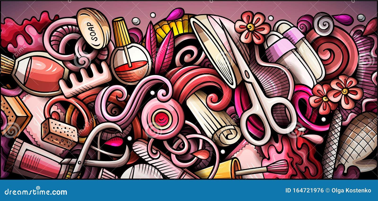 Nail Salon Hand Drawn Doodle Banner Cartoon Detailed Illustrations Stock Vector Illustration Of Banner Graffiti 164721976