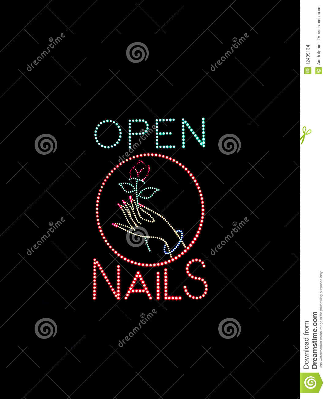 Nail Salon Open Sign stock photo. Image of glow, hand - 12499134