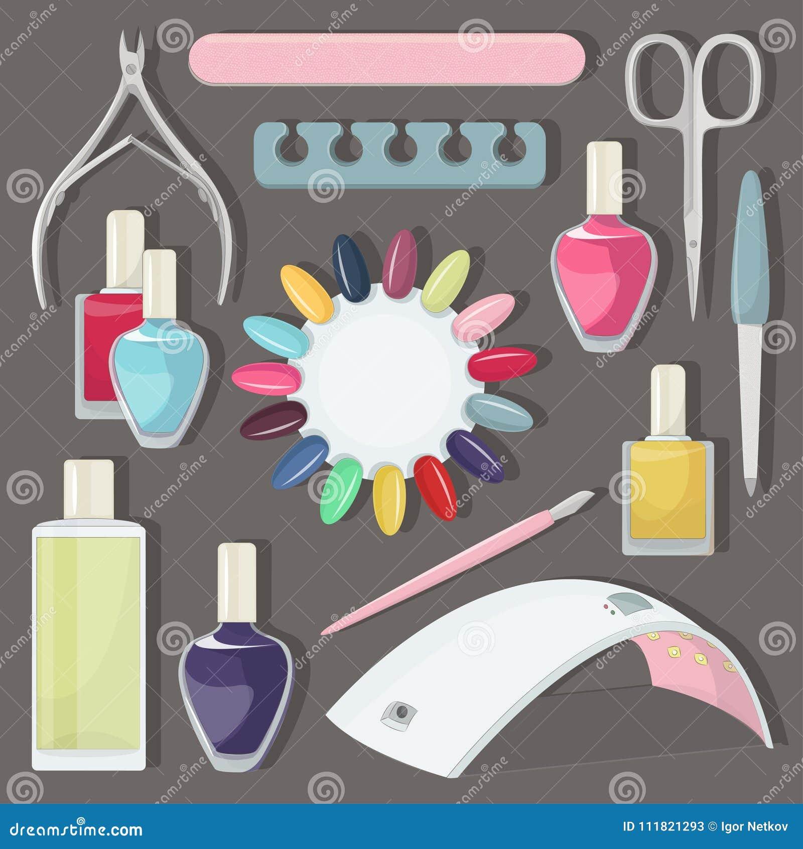 Nail salon set stock vector. Illustration of background - 111821293