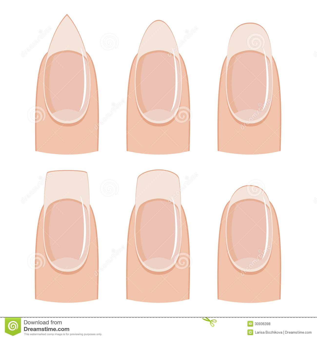 Royalty Free Stock Photos: Nail shapes