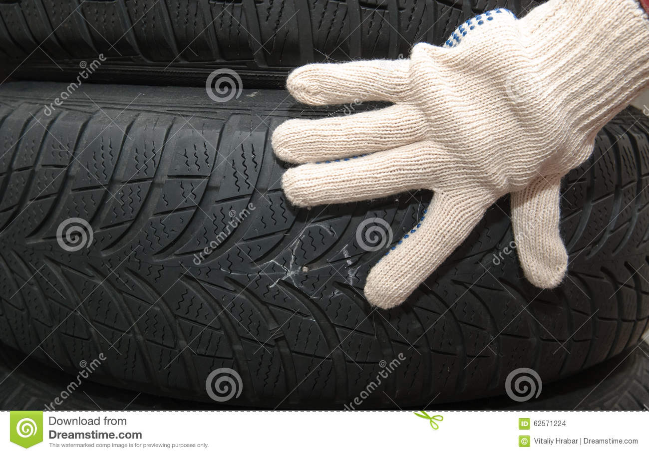 Nail in tyre stock photo. Image of bolt, damage, curing - 62571224