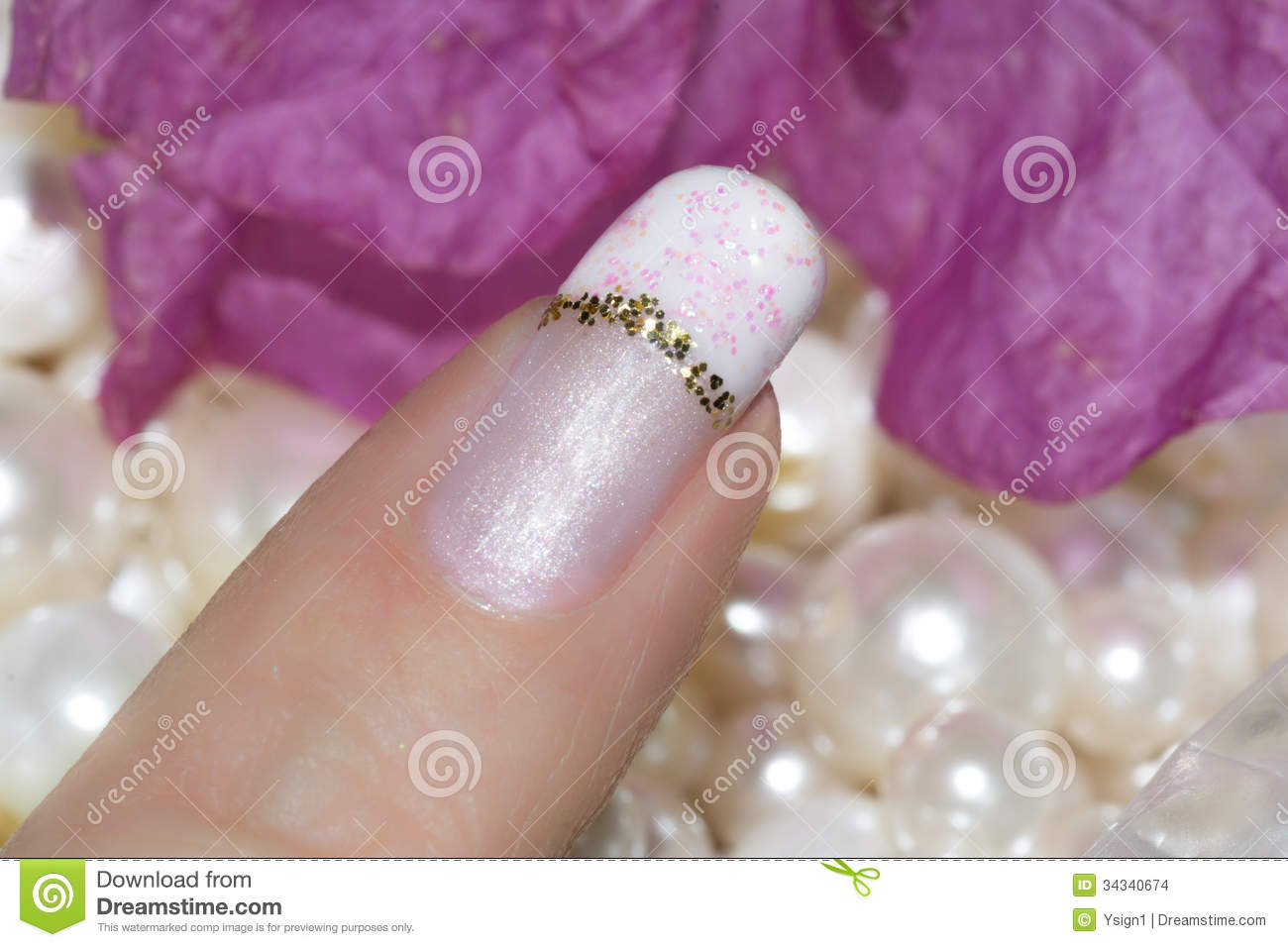 Nails With A French Manicure With A Gold Stripe Stock Photo - Image ...