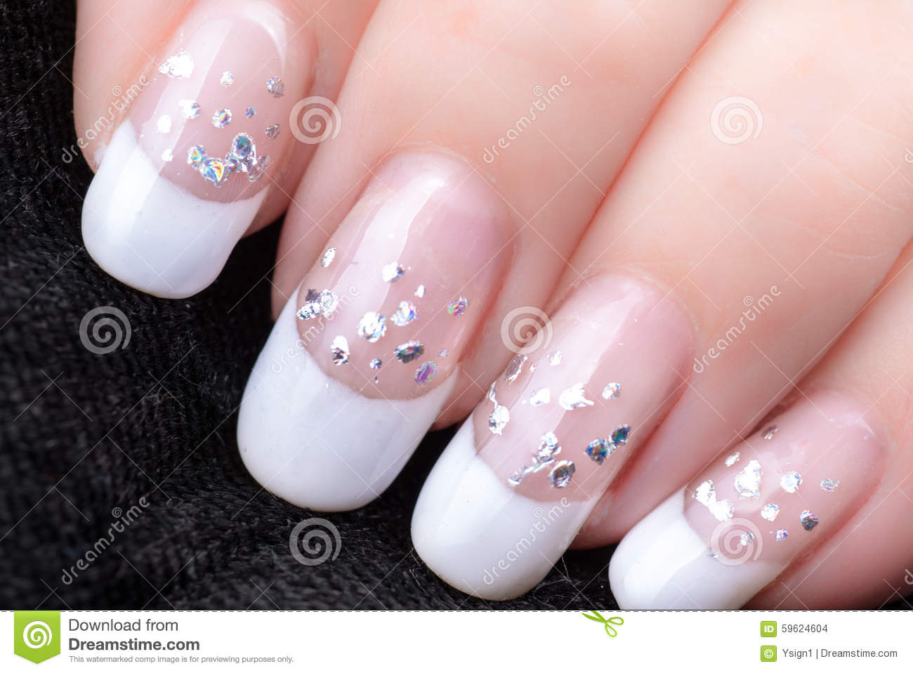 Nails With A French Manicure And Silver Tinsel Stock Photo Image
