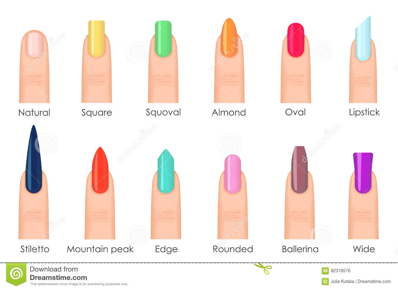 Nails Shape Icons Set. Types Of Fashion Bright Colour Nail Shapes ...