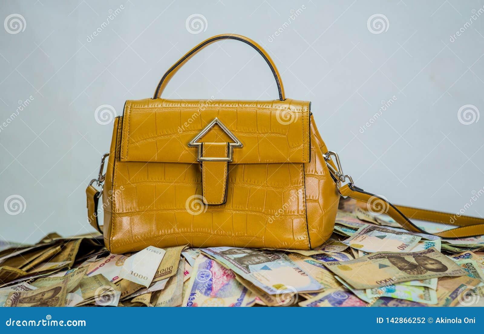 Naira gotówki rozsypisko z kobiety torbą - pojęcie wysokiej mody koszt