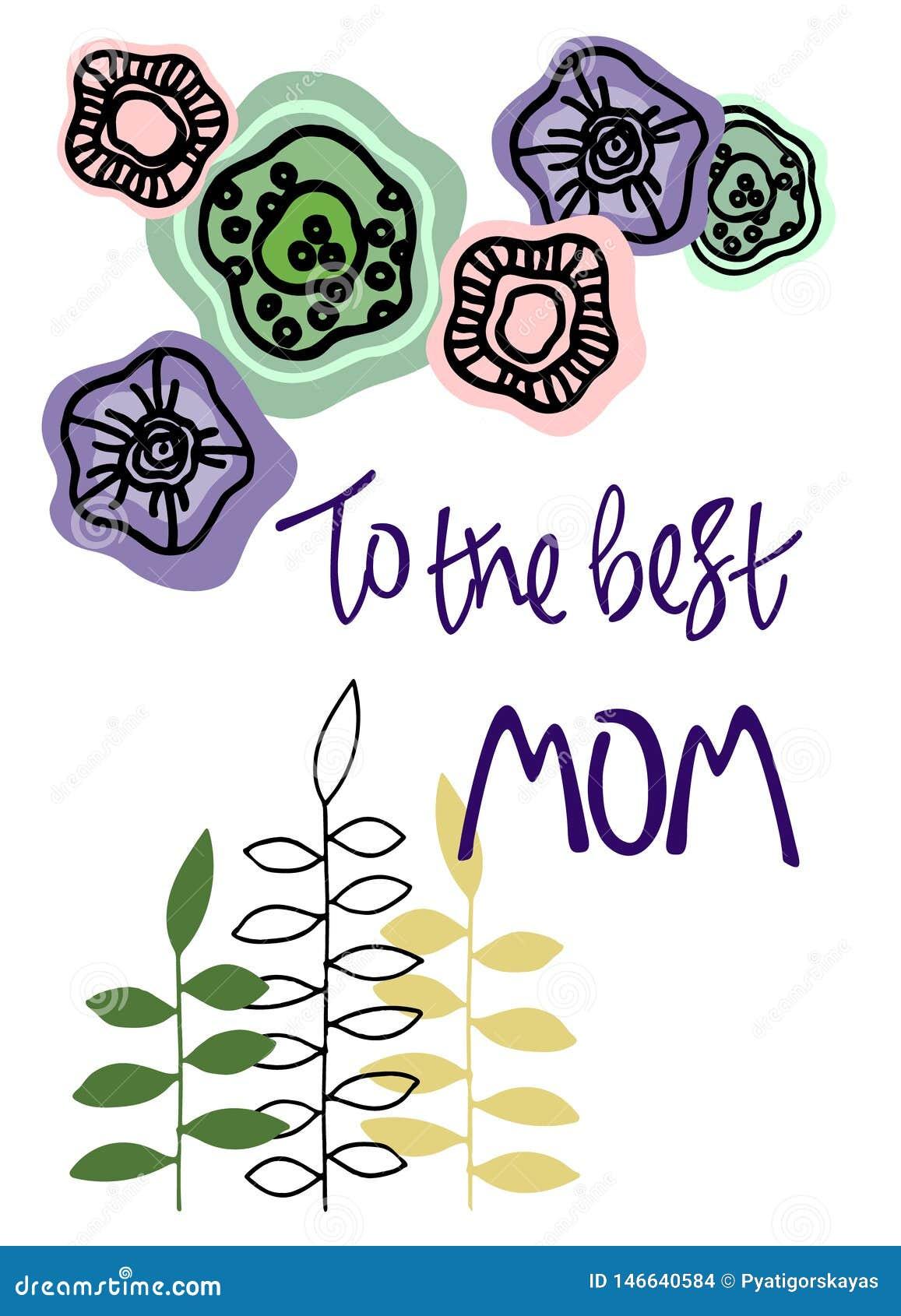 Najlepszy mama Wita? zwrot z kwiecist? dekoracj? R?ki literowanie i poci?gany r?cznie abstrakcjonistyczni kwiaty