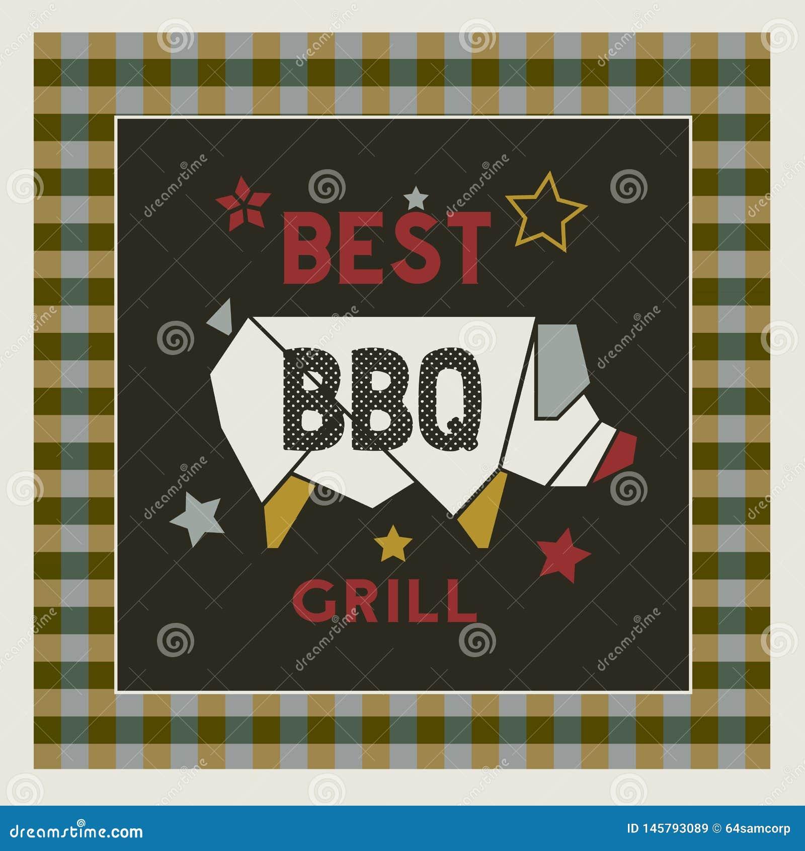 Najlepszy retro stylowa ręka rysujący BBQ grilla kreskówki plakat