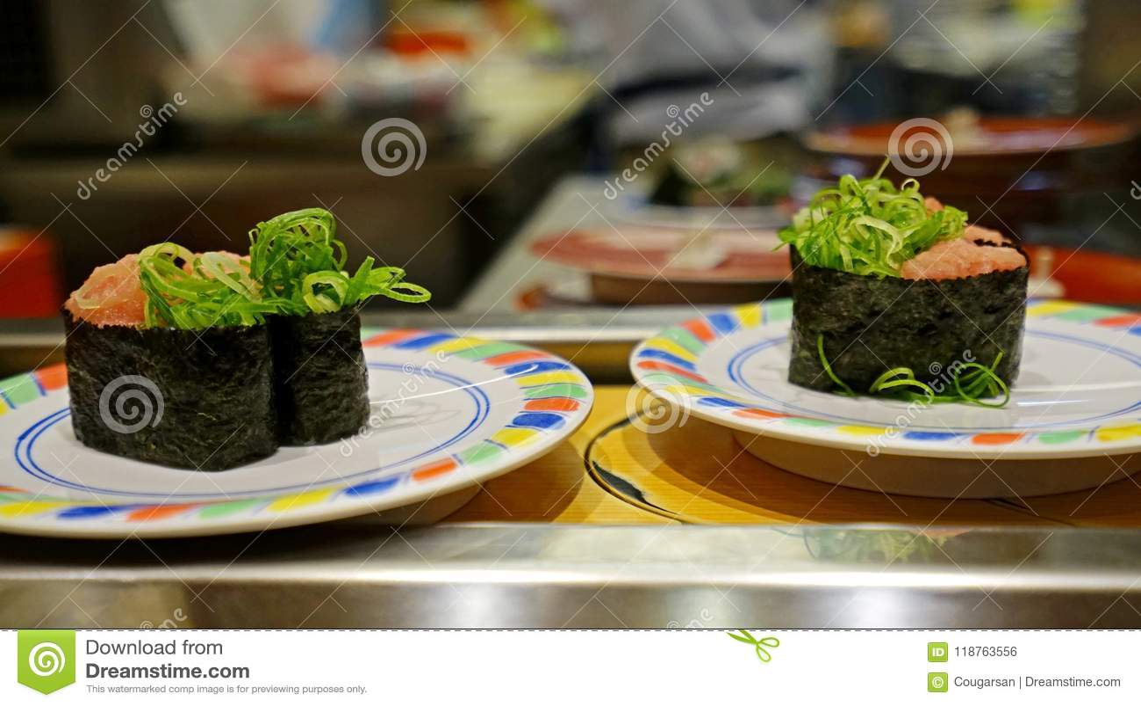 Nakaoch Gunkanmaki Sushi With Seaweed Paper In Japanese Restuarant