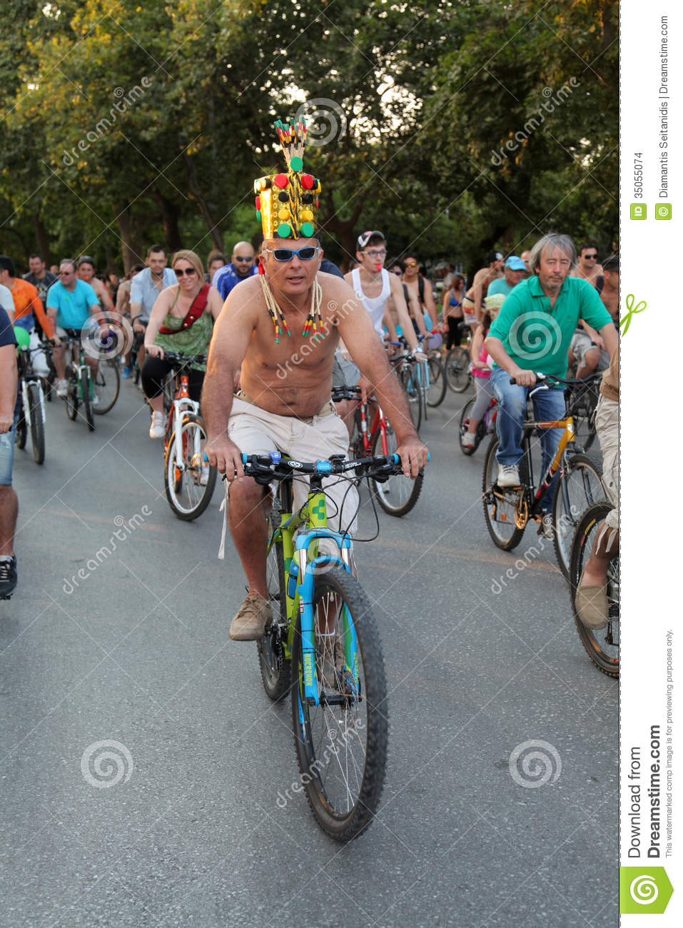 Naked bicycle race in Thessaloniki - Greece
