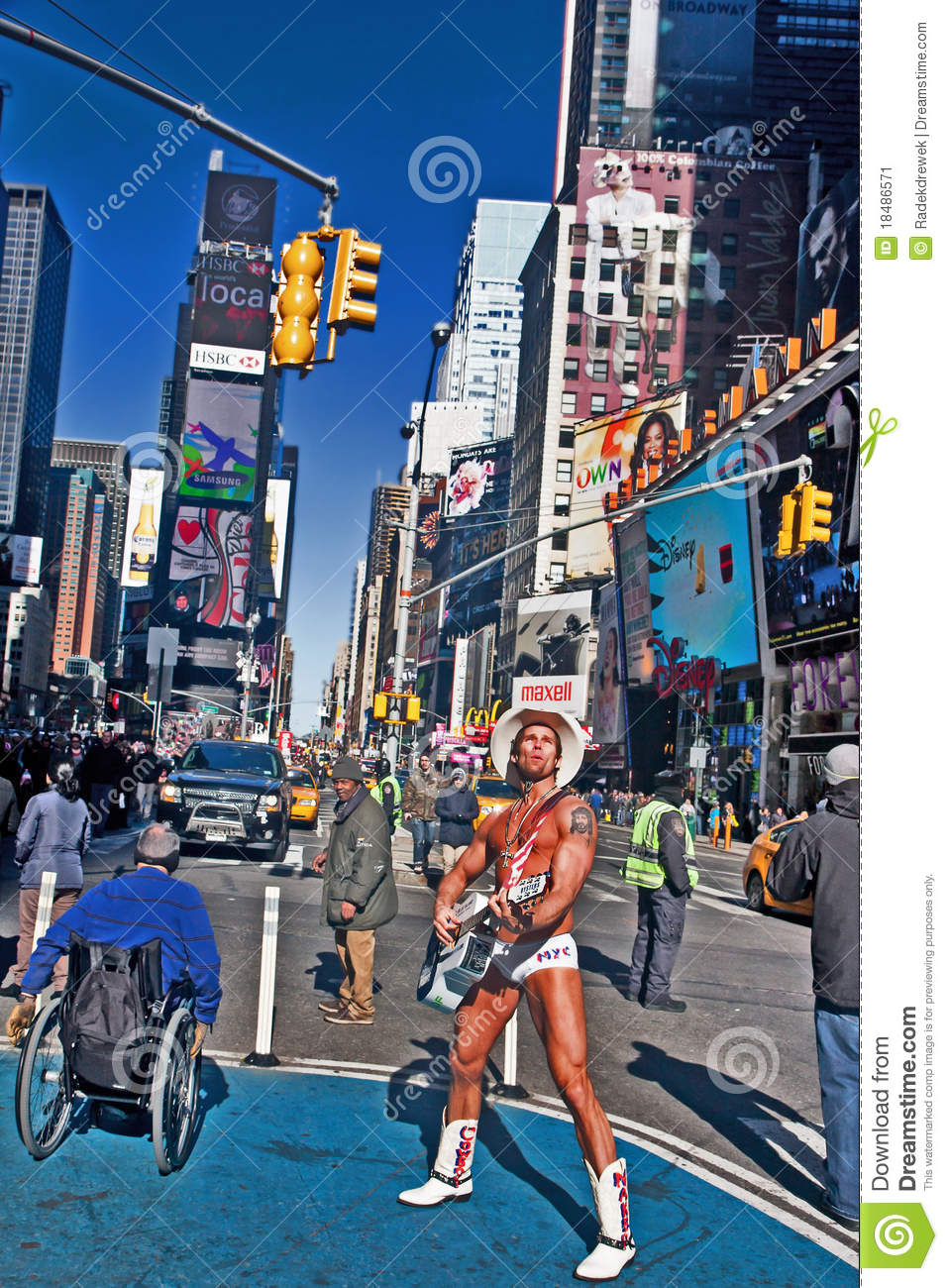 Naked Cowboy On New York Citys Times Square Stock Photo