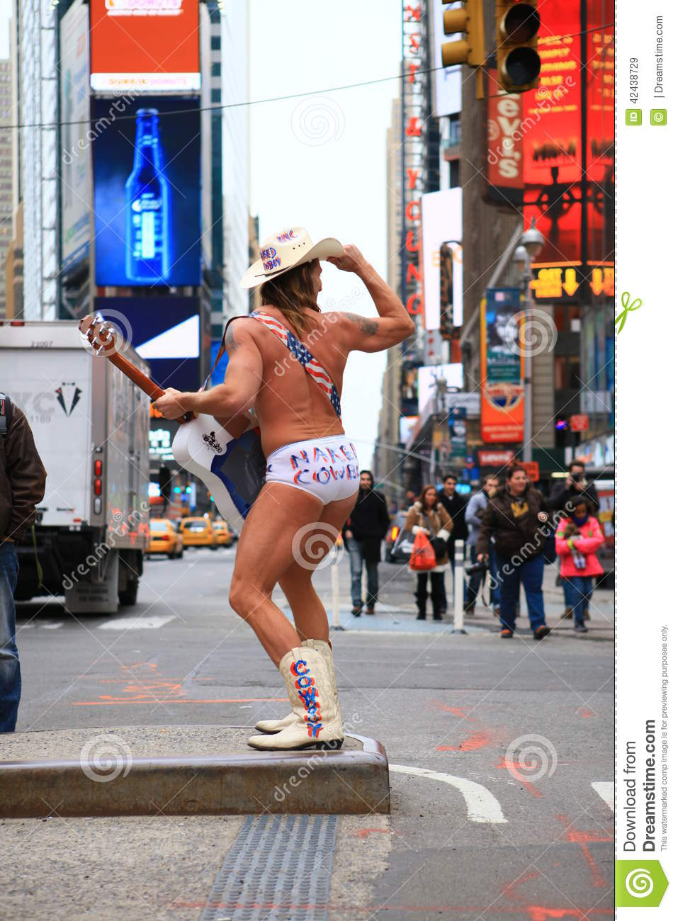 Naked Cowboy editorial photography. Image of guitar, boots