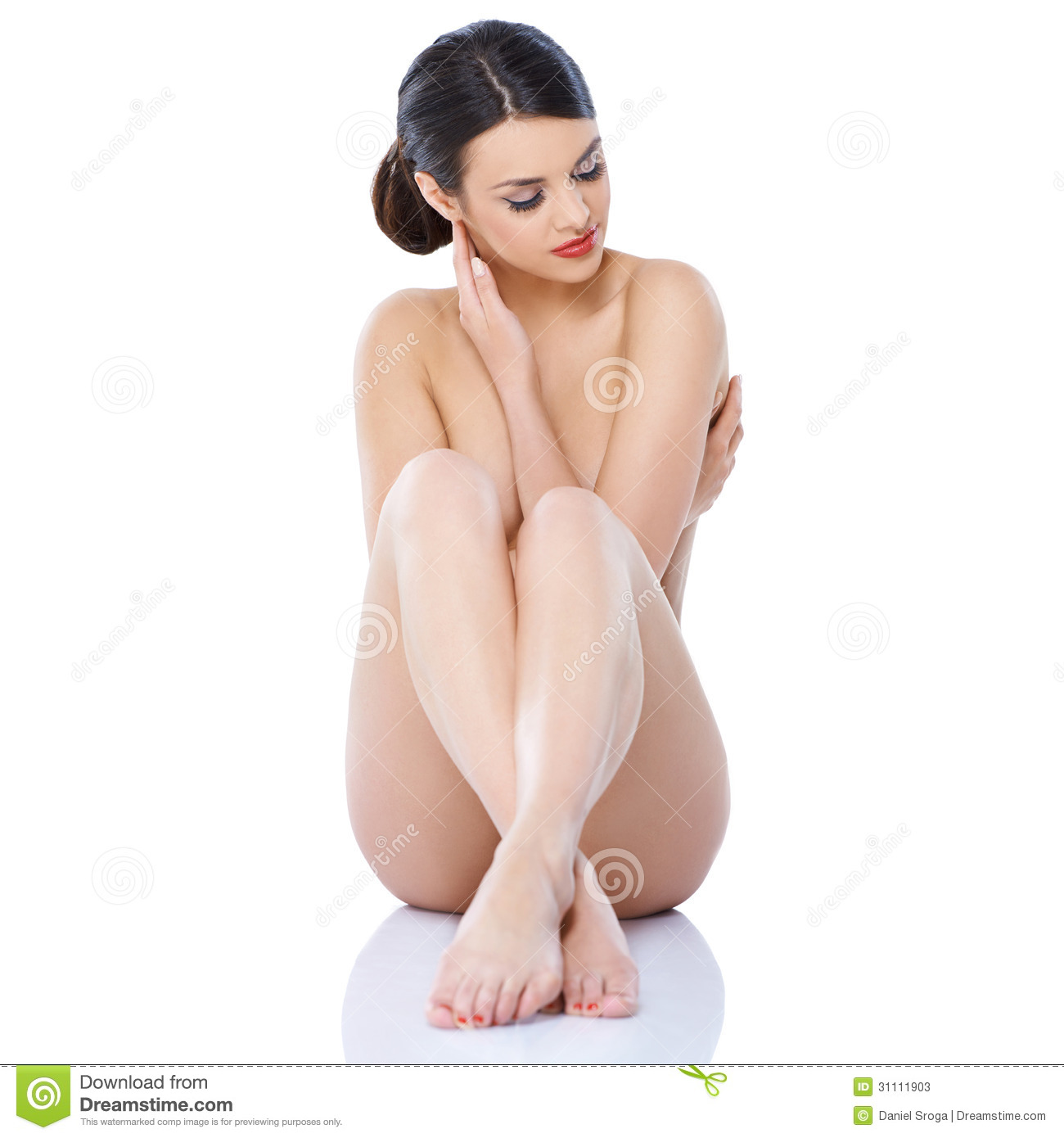 Naked Girl Sitting Isolated With Legs Crossed Stock Image -4703