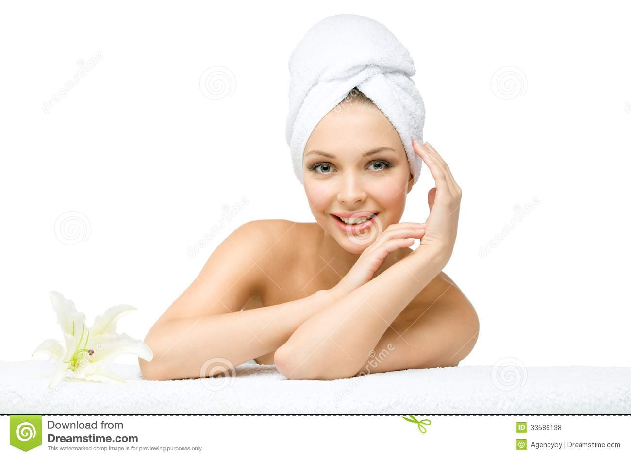Naked Girl With Towel On Head Touches Face Royalty Free Stock Photos -3552