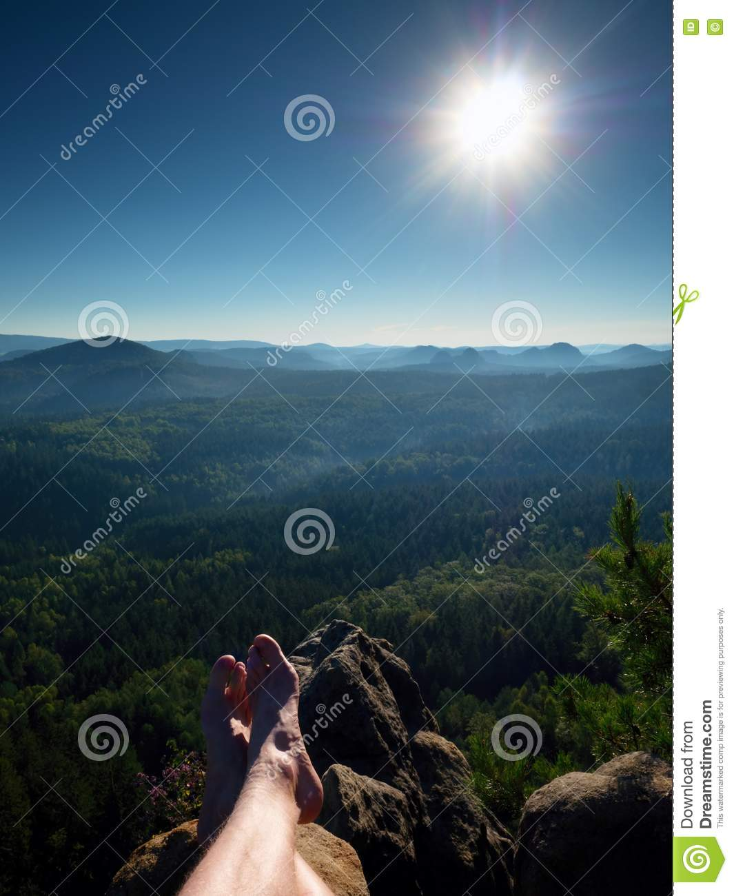 Naked Male Legs Take Rest On Peak Outdoor Activities Stock Image - Image 77778517-8592