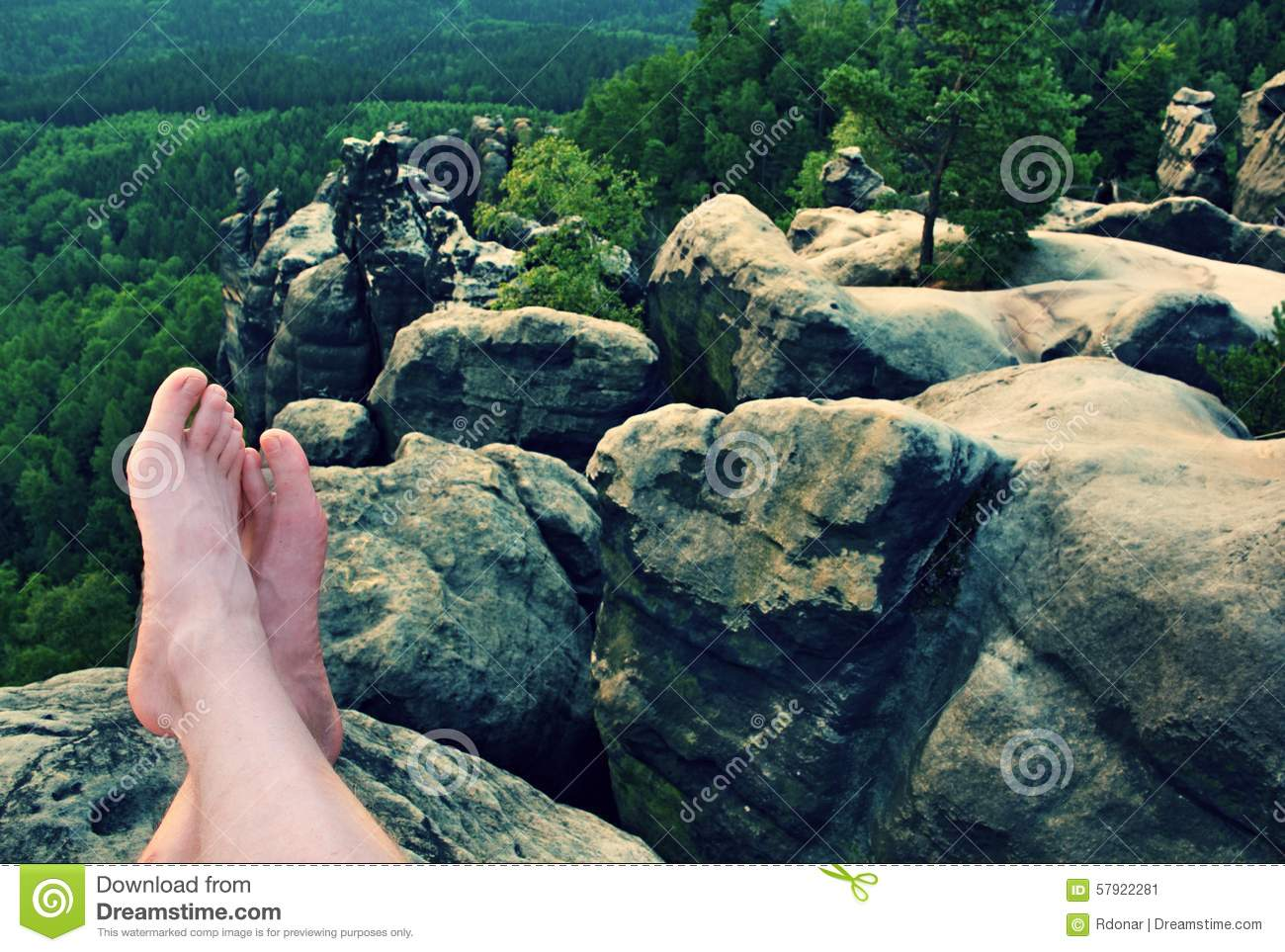 Naked Male Sweaty Long Legs On Peak Of Sharp Rock Above Valley Stock Image - Image Of -3509