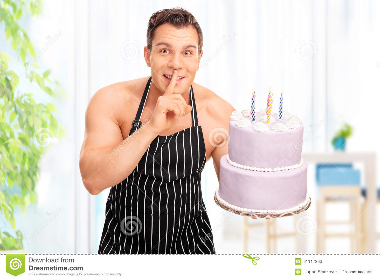 naked man on cake