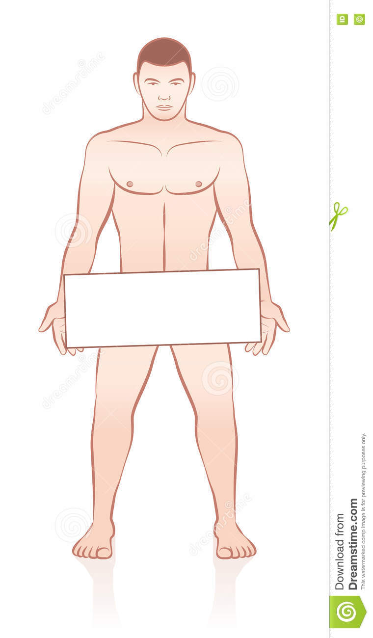 Naked Man Holding Empty Sign Board