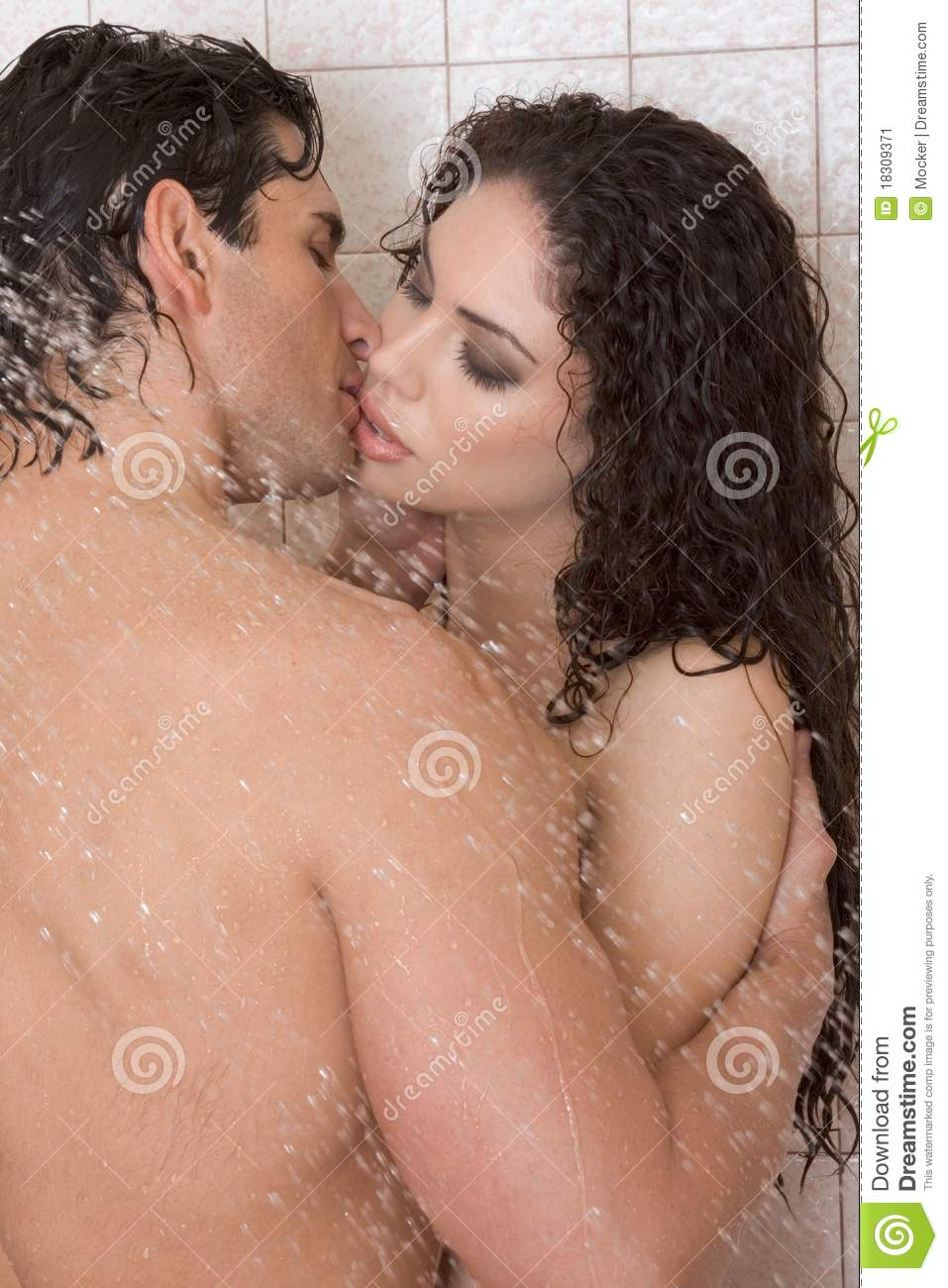 Naked Man And Woman In Love Are Kissing In Shower Stock -9461