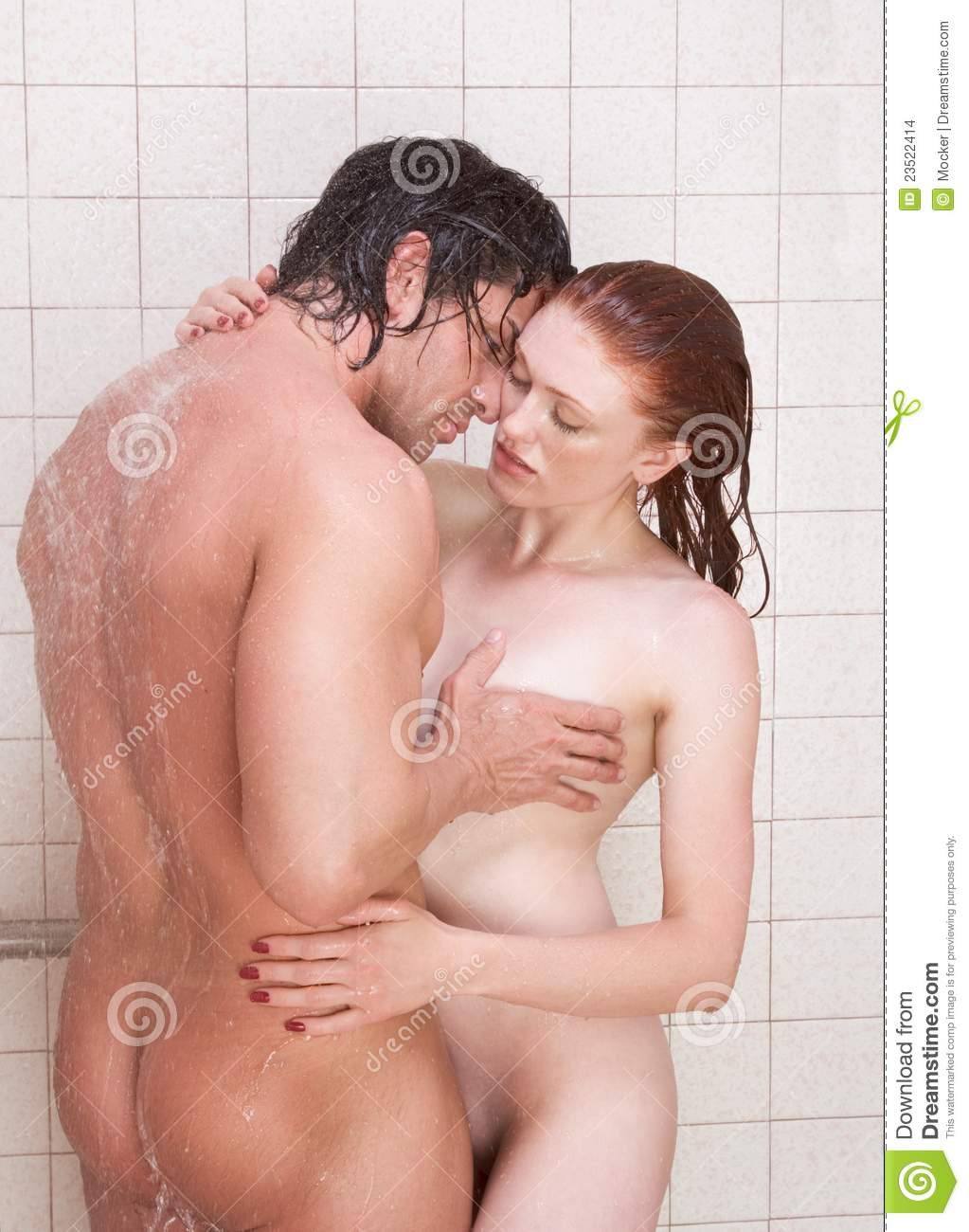 Naked Man And Woman In Love Are Kissing In Shower Stock -3227