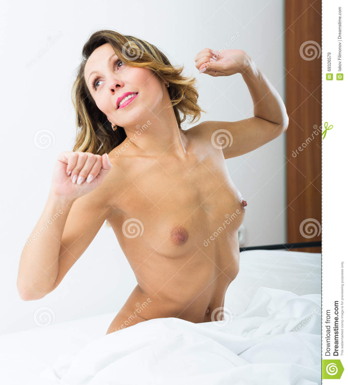 Nude middle aged woman