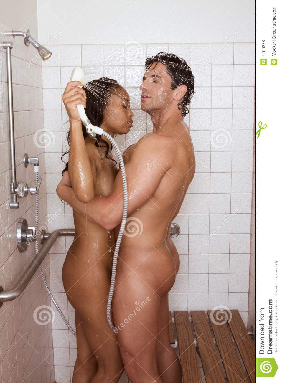 Naked Sensual Couple Man And Woman In Shower Stock Photo -5080