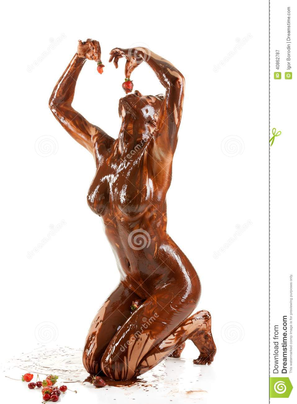 Women covered in chocolate nude, swallow it tween