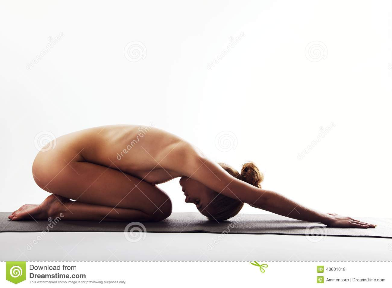 Naked Woman Doing Simple Stress Relief Yoga Stock Photo -9855