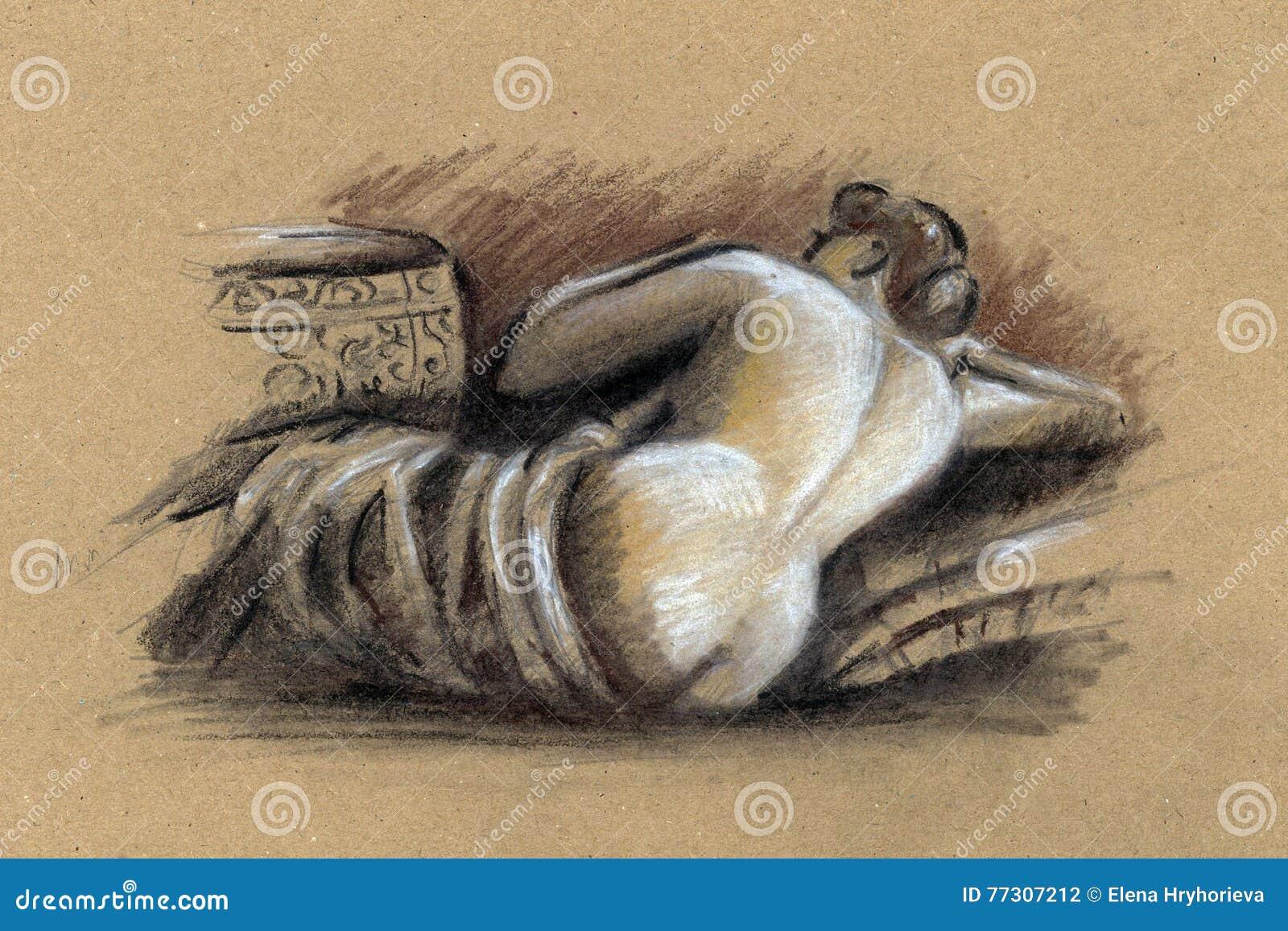 Naked woman drawing