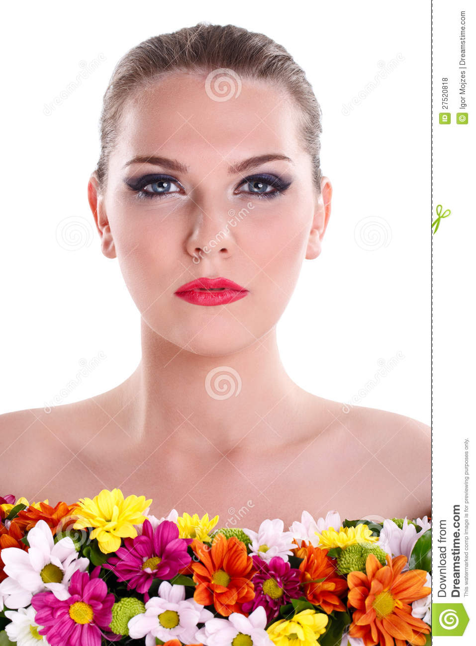 Naked woman with flowers