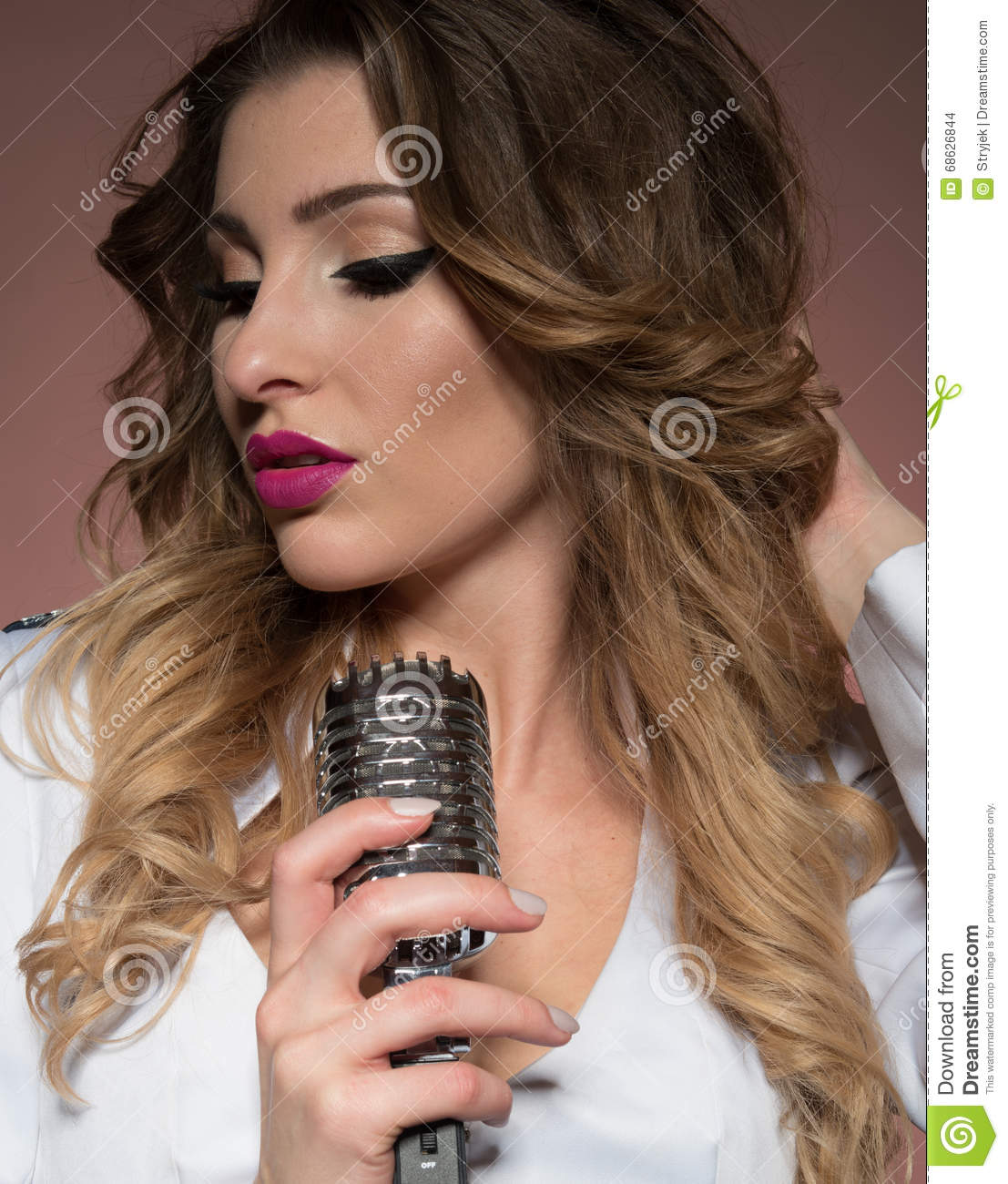 Naked Woman With Retro Mic