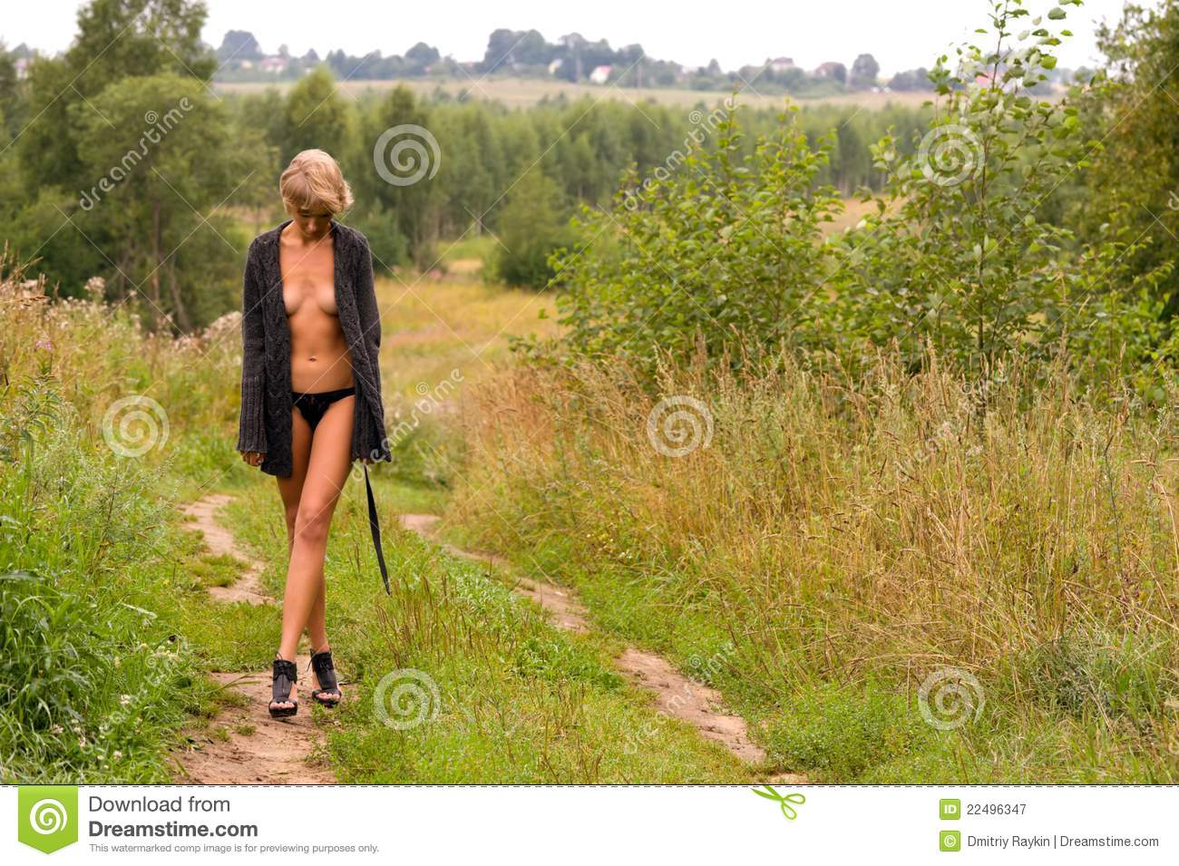 Naked woman walking just came