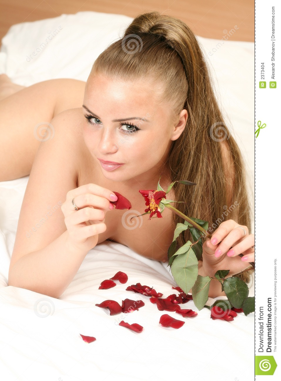 Naked Women On Bed With Rose