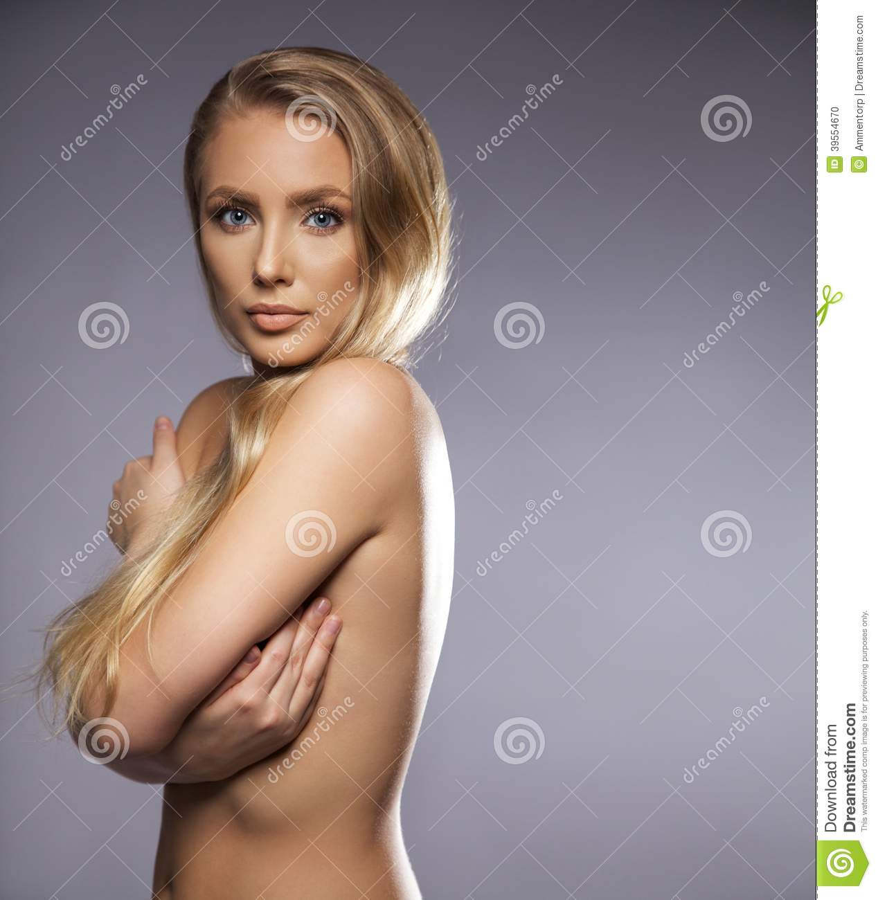 nude girl covering body