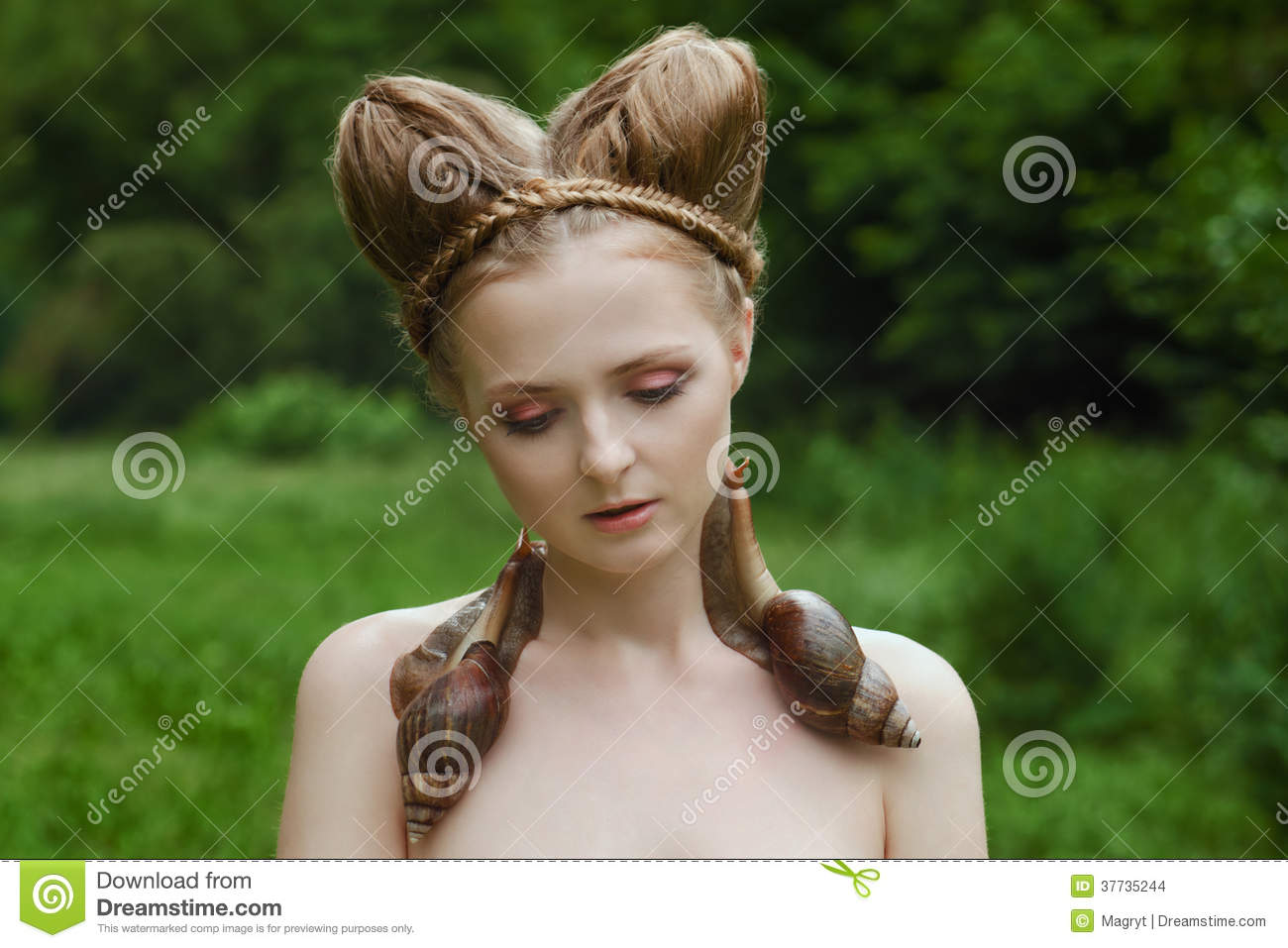 Images naked young woman with fashion hairstyle and two big snails Cute hairstyles for a prom prom hairstyles ideas razitra