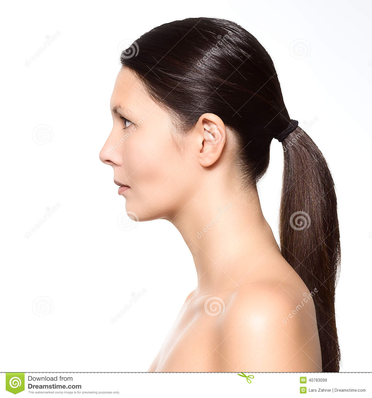Naked Young Woman Standing In Profile Stock Image - Image