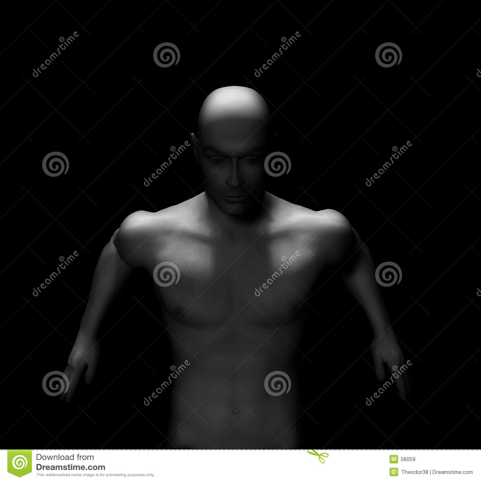 Nakenstudie för 9 manlig