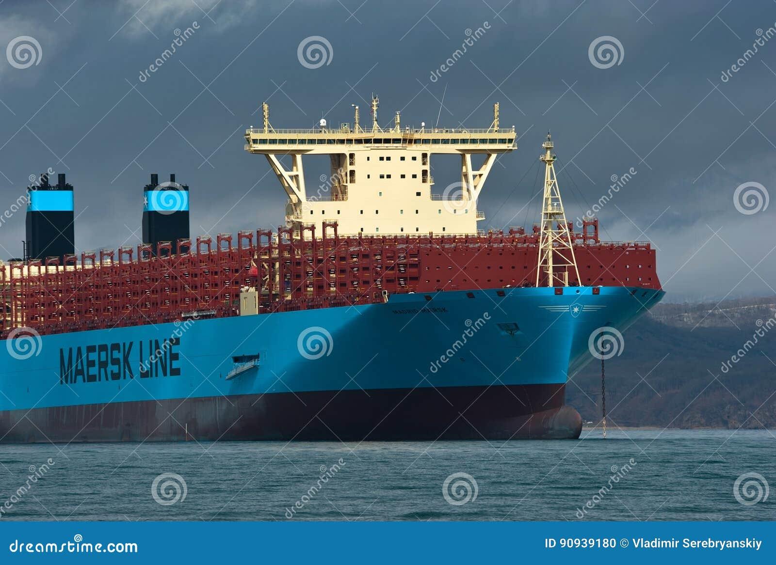 Nakhodka, Russia- April 19, 2017: Container Ship Madrid