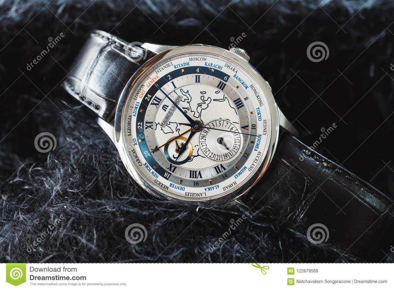 NAKHON RATCHASIMA, THAILAND - JULY 31, 2018 : Maurice Lacroix world timer collection with world map on dial watch