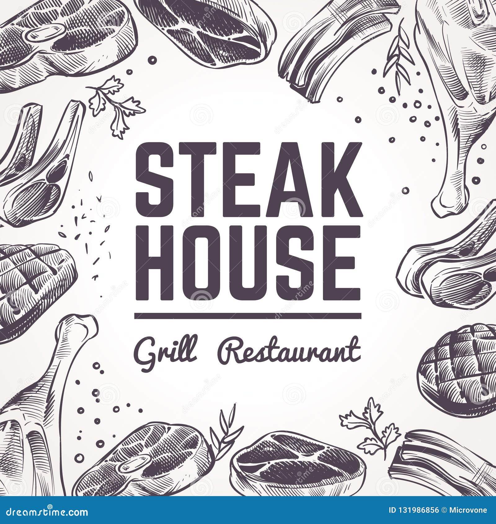 Nakreślenia mięsa tło Grilla jedzenia menu Wołowina, wieprzowina, baranek kiełbasy i grill, i Rocznika bbq mięsna ręka rysujący w