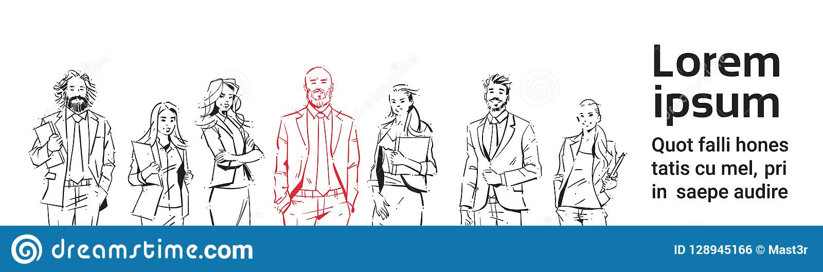 Nakreślenie biznesmenów drużyny pobyt na białym tle, lider przed drużyną pomyślni kierownictwa, portreta grupa