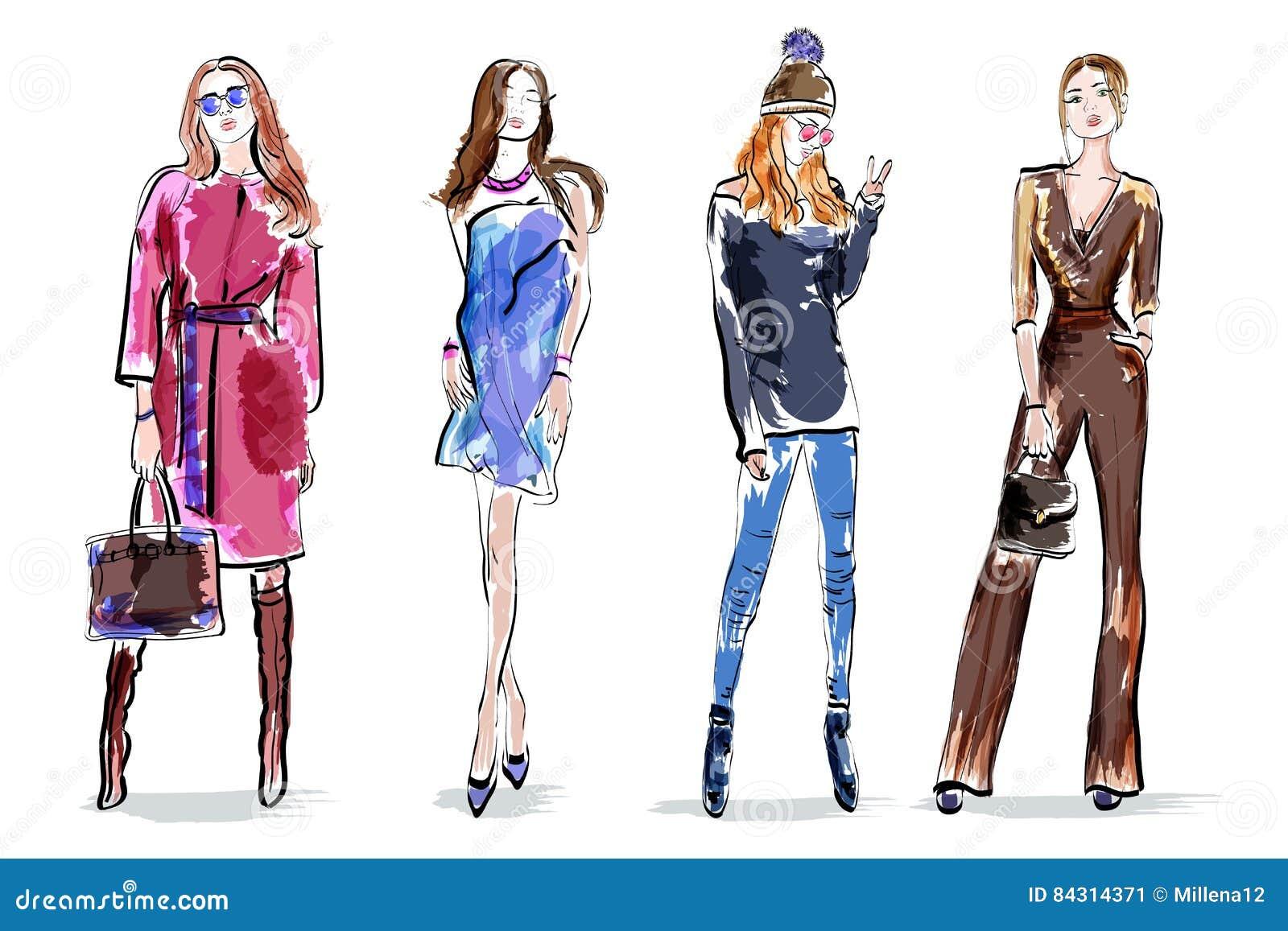 Nakreślenie dziewczyny ustawiać Eleganckiej ręki rysunkowe kobiety Kolorowi żeńscy charaktery