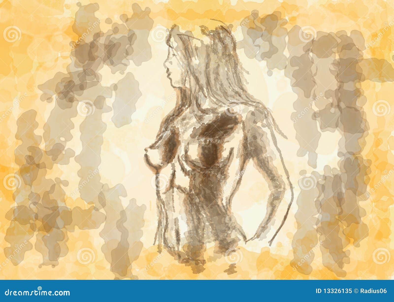 Nakreślenie naga kobieta