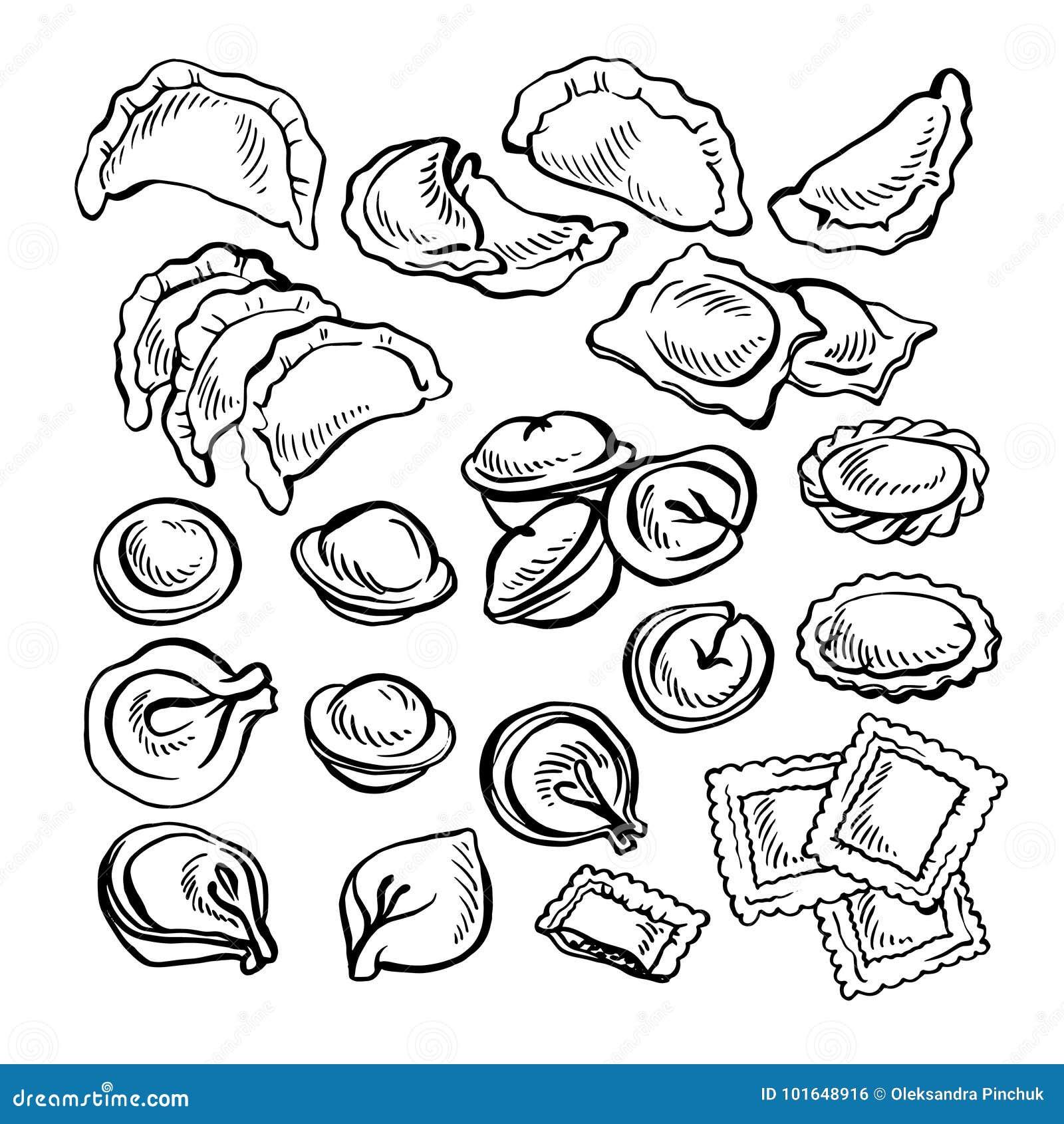 Nakreślenie ręka rysujący Vareniki Pelmeni Mięsne kluchy Jedzenie _