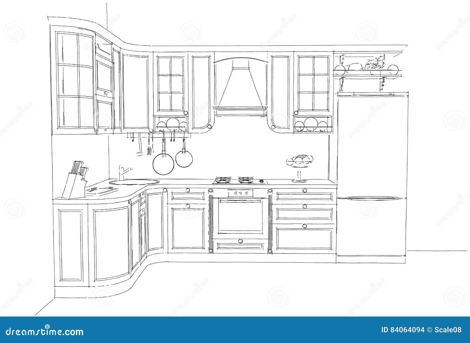 Nakreślenie rysunek klasyczny kuchenny wnętrze 3d