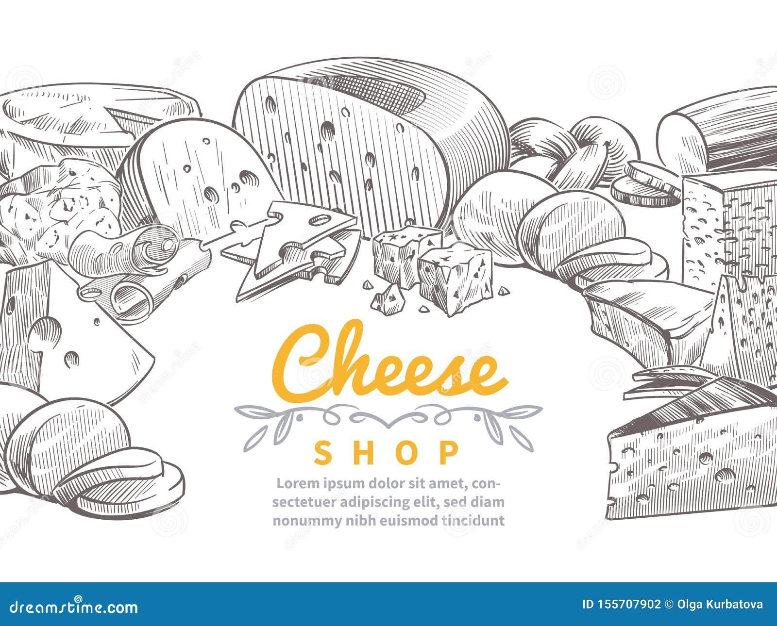 Nakreślenie sera tło Smakowity serów brie, feta i parmesan plasterków smakosz, przekąsza Doodle nakreślenia rocznika wektor