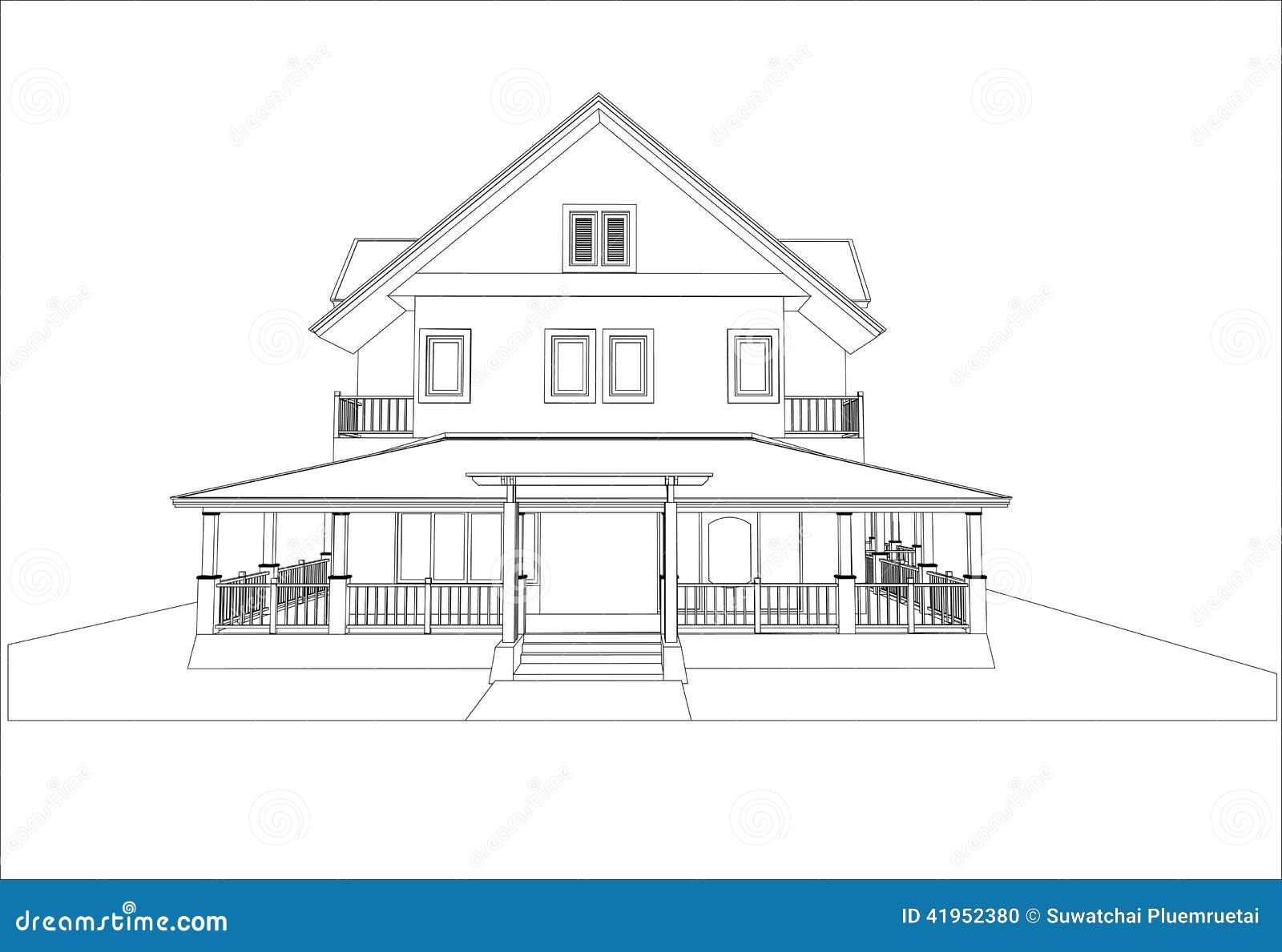 Nakreślenie projekt dom, wektor