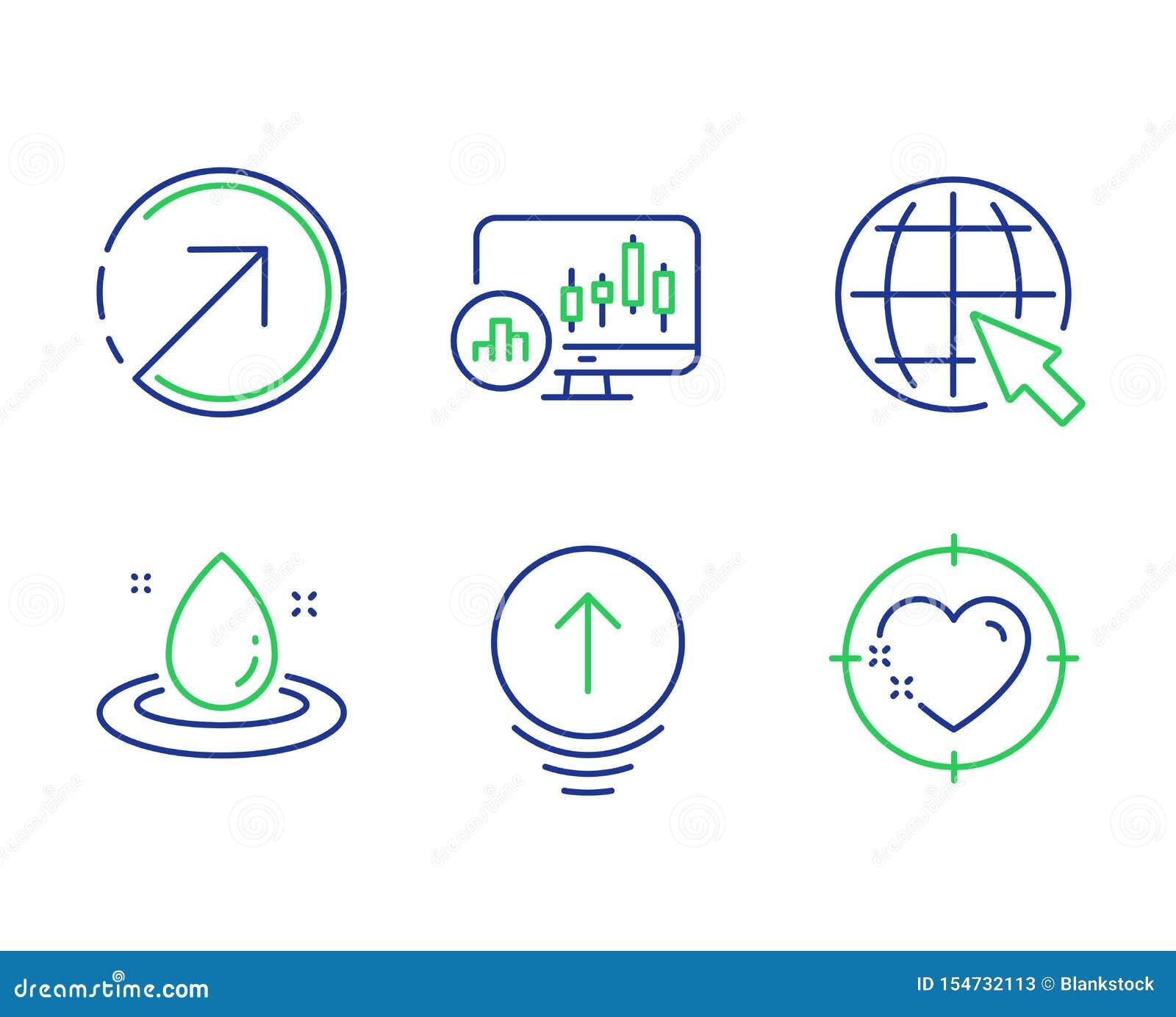 Nalla upp, bränsleenergi och riktningssymbolsuppsättningen Internet-, ljusstakediagram och hjärtamåltecken vektor
