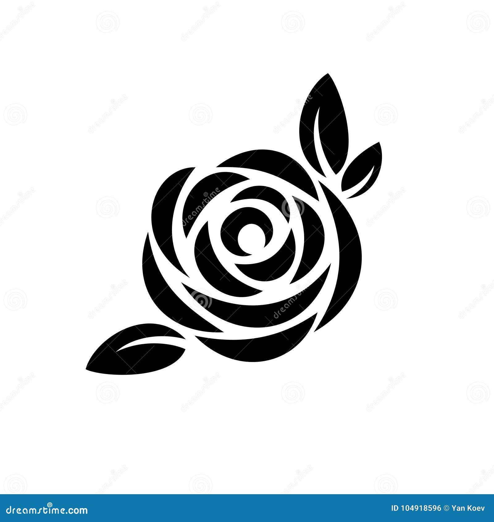 Nam bloem met embleem van het bladeren het zwarte silhouet toe