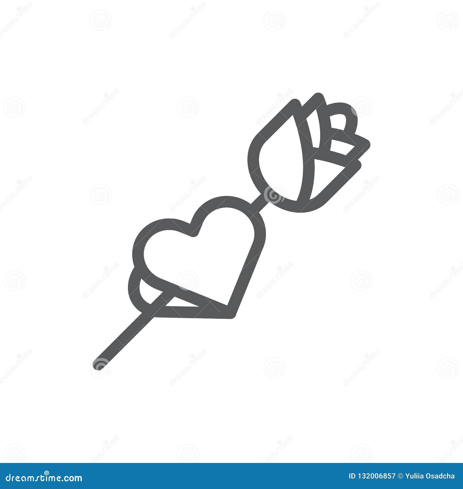 Nam met kaart in vorm van het pictogram van de hartlijn met editable slag toe